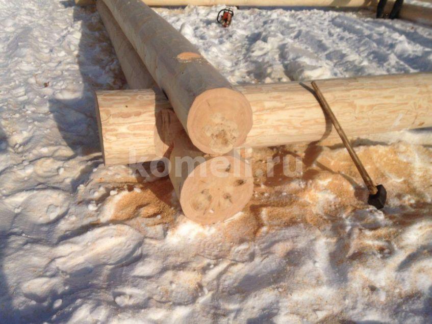 Сруб 7 на 7 Баня в Полевском из сосны зимний лес компания Комель